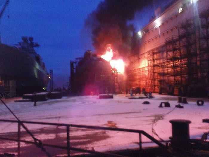 Пожар на подлодке в Росляково