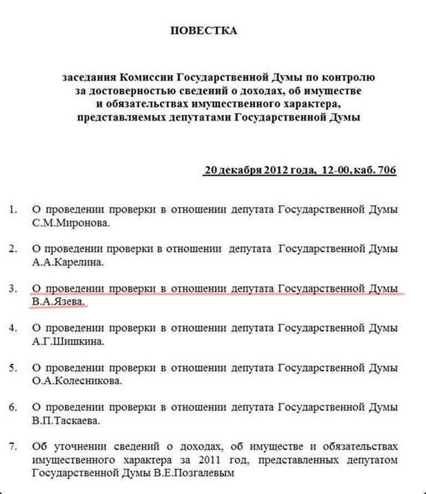 Депутаты проверят доходность Язева