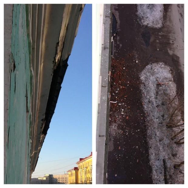Обрушение фасада на Самойловой 12 (Мурманск)