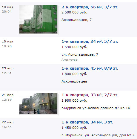 Продажа квартир в социальном доме, Мурманск, Аскольдовцев